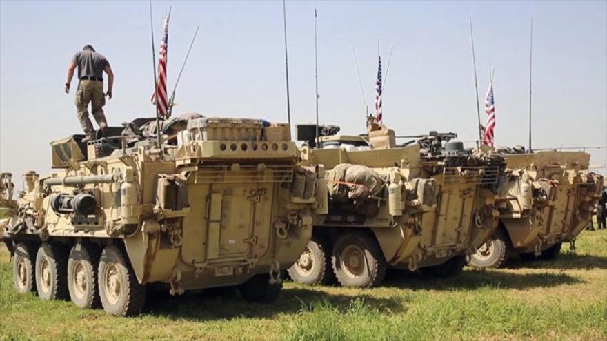 Los vehículos y soldados estadounidenses en la aldea de Darbasiyah, en el norte de Siria, 29 de abril de 2017.