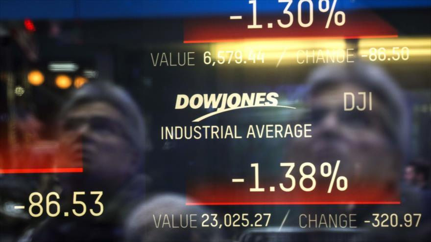 Los números del día para el Dow Jones Industrial Average se muestran en una pantalla, Nueva York, 3 de enero de 2019. (Foto: AFP)