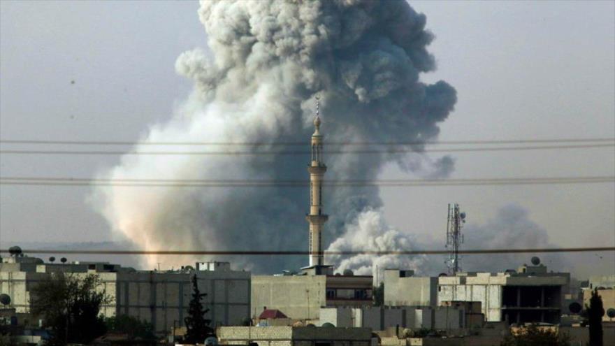 Un ataque aéreo llevado a cabo por la coalición liderada por EE.UU. en Siria.