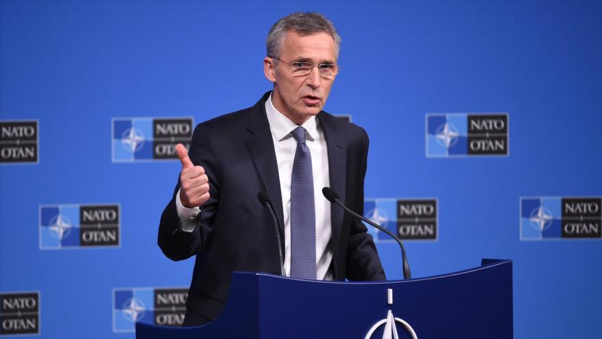 El secretario general de la OTAN, Jens Stoltenberg, habla en una rueda de prensa en Bruselas, 4 de diciembre de 2018. (Foto: AFP)