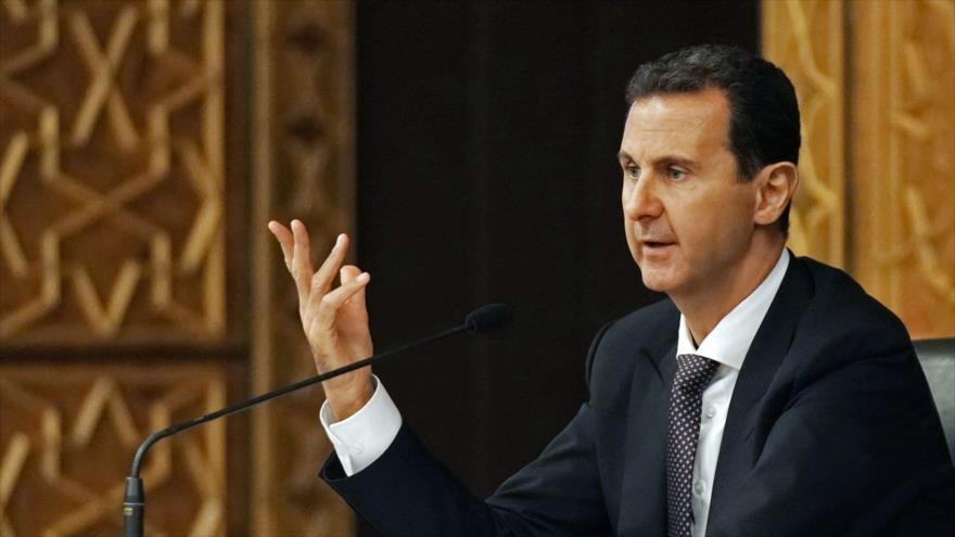 El presidente sirio, Bashar al-Asad, en una reunión del Comité Central del gobernante partido Baas en Damasco, 7 de octubre de 2018. (Foto: SANA)