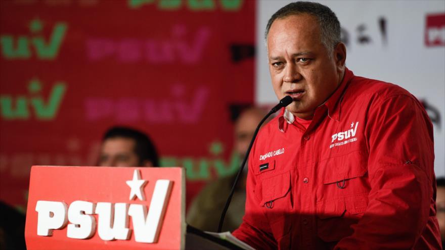 El dirigente chavista Diosdado Cabello ofrece una rueda de prensa, Caracas, 7 de enero de 2019. (Foto: AFP)