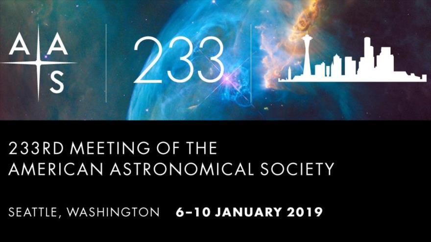 El cartel de la 233.ª reunión de la Sociedad Astronómica Estadounidense (AAS, por sus siglas en inglés).