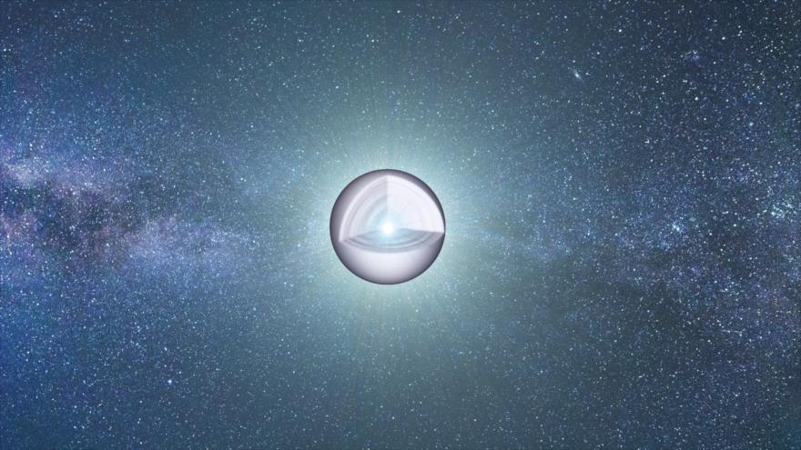 Representación de una enana blanca, remanente de la combustión nuclear estelar.