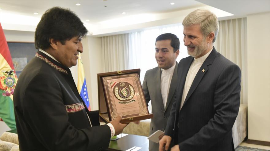 El ministro de Defensa de Irán, el general de brigada Amir Hatami, y el presidente de Bolivia, Evo Morales, en Caracas, 10 de enero de 2019. (Foto: ABI)