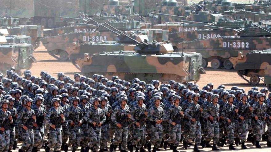 Integrantes del Ejército de China durante maniobras militares.