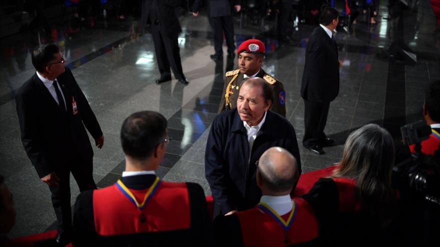 El presidente de Nicaragua, Daniel Ortega, en la ceremonia de investidura de su homólogo venezolano, Nicolás Maduro, 10 de enero de 2019. (Foto: AFP)