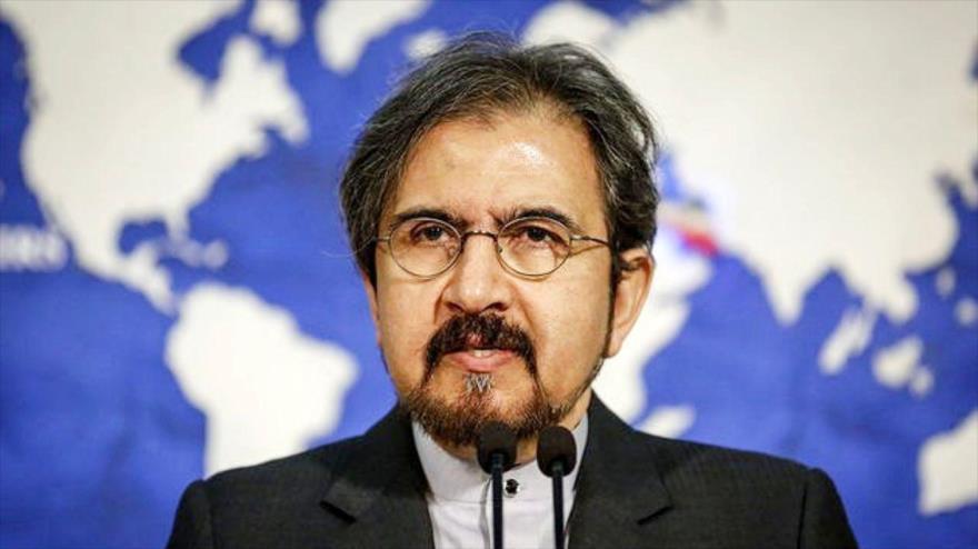 El portavoz de la Cancillería iraní, Bahram Qasemi, ofrece una rueda de prensa en Teherán, capital persa.