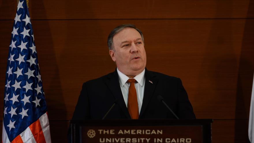 El secretario de Estado de EE. UU., Mike Pompeo, habla a los estudiantes de la Universidad Americana de El Cairo, 10 de enero de 2019. (Foto: AFP)