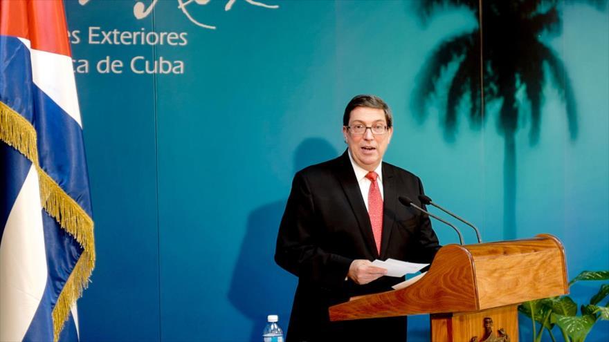 El ministro de Asuntos Exteriores de Cuba, Bruno Rodríguez, durante una rueda de prensa, Habana (capital de Cuba), 24 de octubre de 2018.(Foto: AFP)