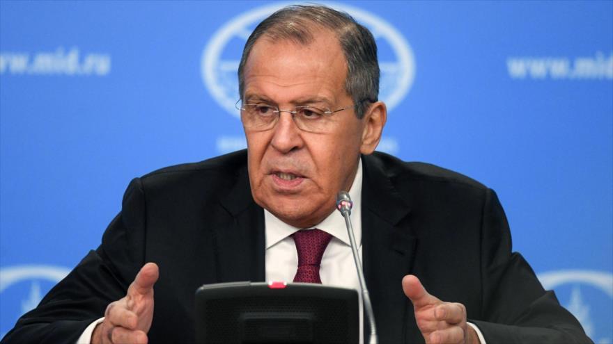 El canciller de Rusia, Sergéi Lavrov, en una rueda de prensa anual en Moscú, la capital, 16 de enero de 2019. (Foto: AFP)