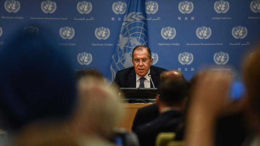 El canciller de Rusia, Sergéi Lavrov, en su rueda de prensa anual en Moscú, capital, 16 de enero de 2019. (Foto: AFP)