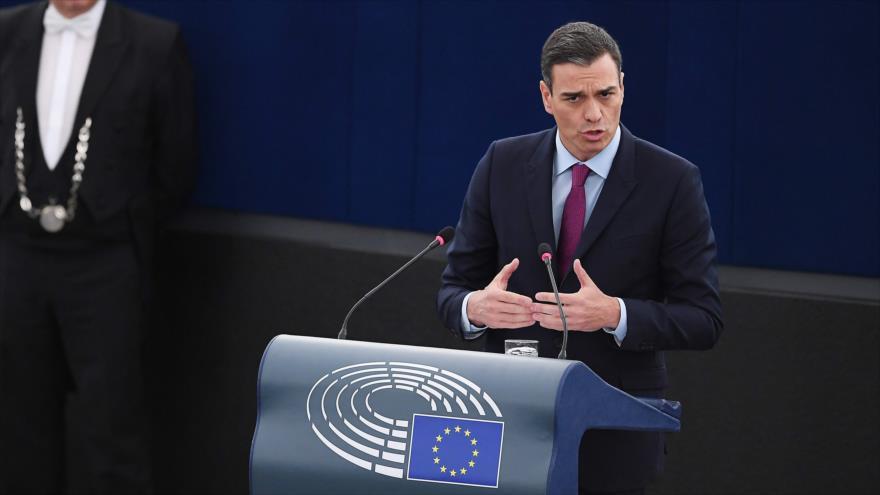 El presidente del Gobierno español, Pedro Sánchez, ofrece un discurso ante la Eurocámara en Estrasburgo (Francia), 16 de enero de 2019. (Foto: AFP)