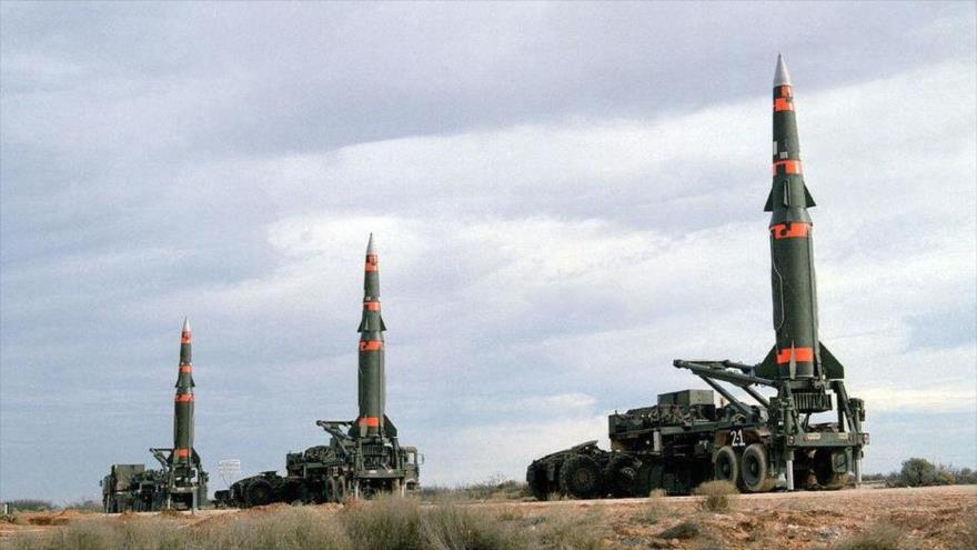 Misiles balísticos nucleares estadounidenses MGM-31 Pershing, prohibidos bajo el Tratado INF.