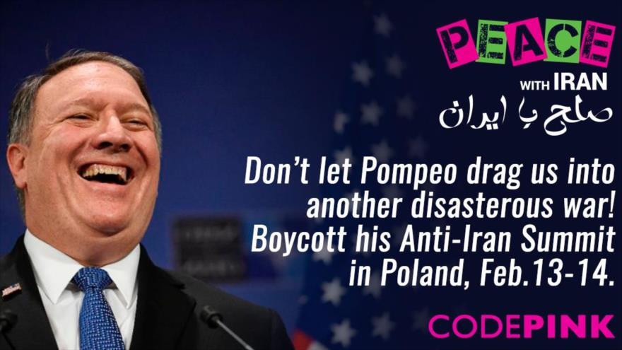 Activistas antiguerra en EE.UU. instan a la Unión Europea (UE) a boicotear la cumbre antiraní que se celebrará los días 13 y 14 de febrero en Polonia.