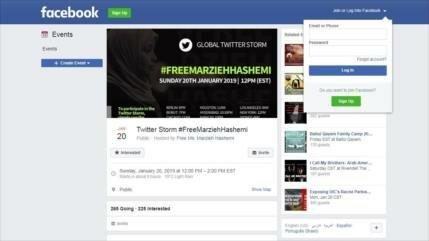 Tormenta en Twitter para demandar la liberación de Marzie Hashemi