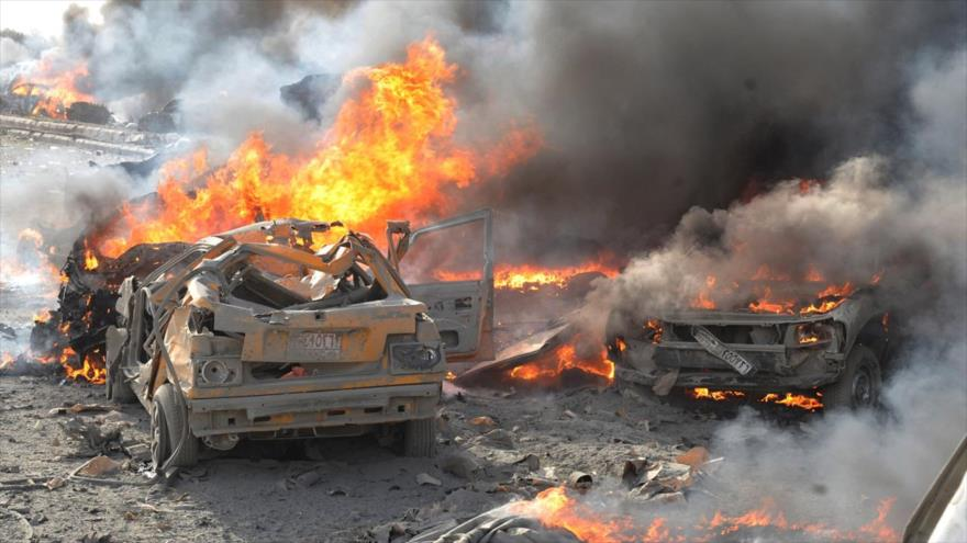Destrucción causada por un atentado terrorista en Damasco, la capital de Siria.