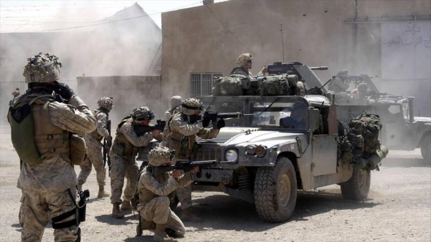 Soldados estadounidenses desplegados en la ciudad de Faluya, en el centro de Irak.