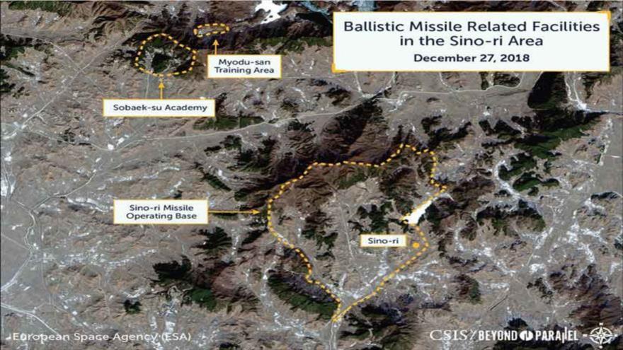 Imágenes satelitales captadas muestran un supuesto desarrollo de misiles balísticos en la base de Sino-ri, en Corea del Norte. (Foto: CSIS)