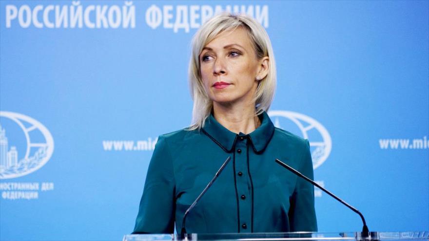 María Zajárova, portavoz del Ministerio de Exteriores de Rusia. (Foto: embrussia.ru)