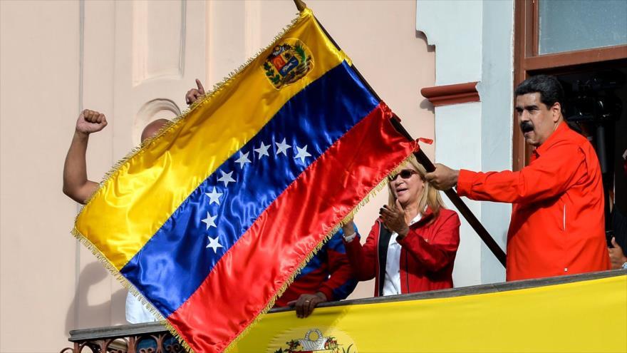 El presidente de Venezuela, Nicolás Maduro, en una marcha a favor del Gobierno en Caracas, 23 de enero de 2019.