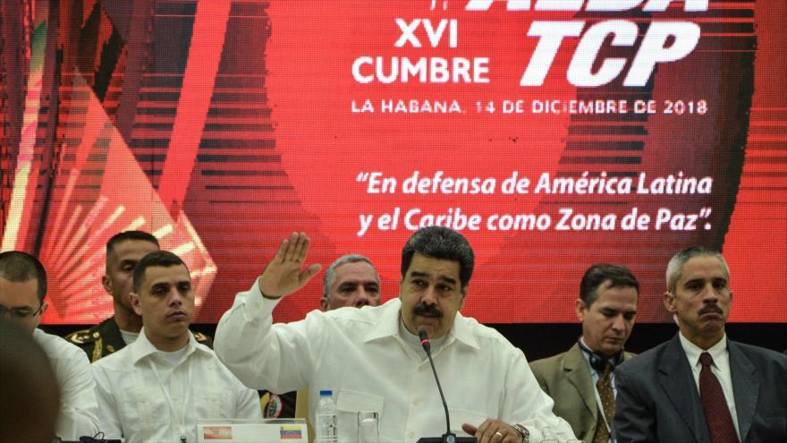 El presidente venezolano, Nicolás Maduro, habla en la XVI Cumbre de la ALBA en La Habana, Cuba, 14 de diciembre de 2018. (Foto: AFP)