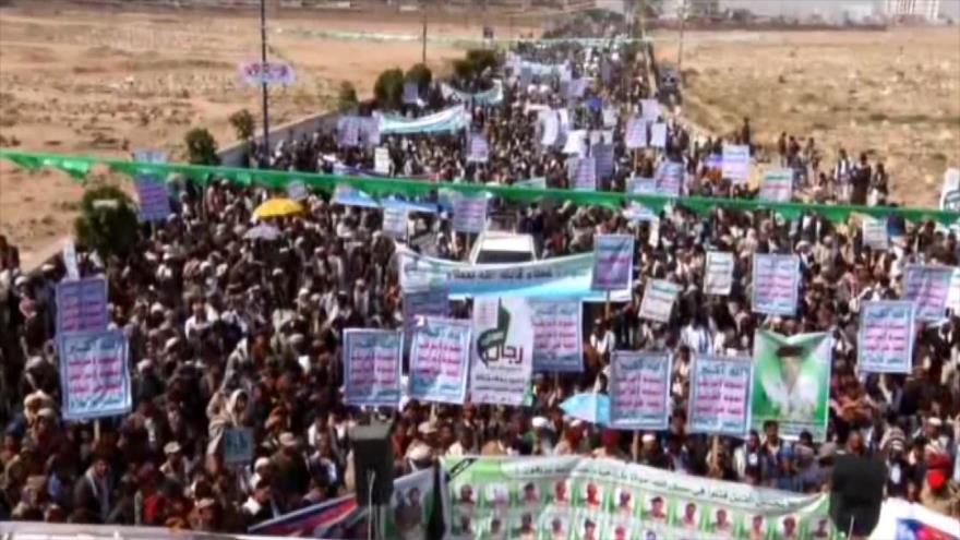 Yemeníes se movilizan para condenar el 4.º año de agresión saudí
