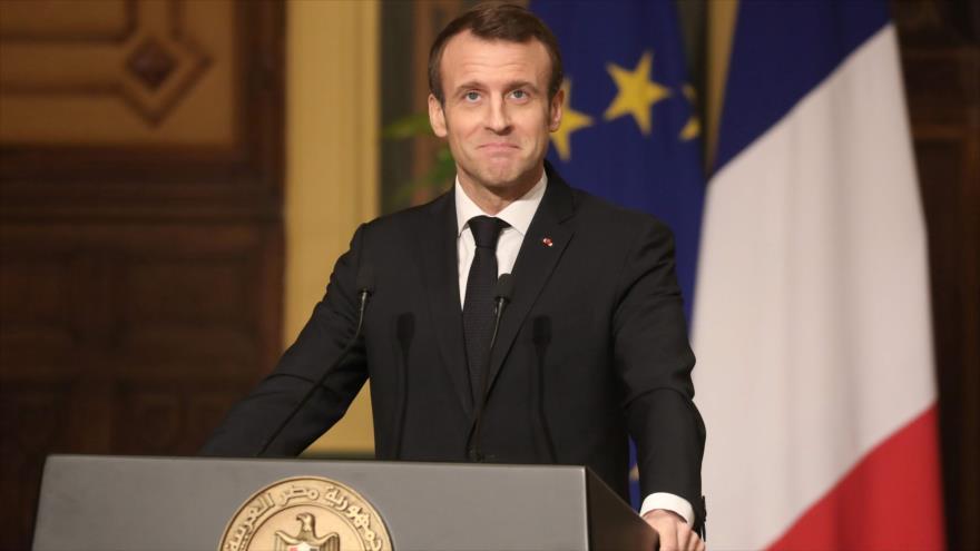 El presidente de Francia, Emmanuel Macron, en una conferencia de prensa en El Cairo, capital de Egipto, 28 de enero de 2019. (Foto: AFP)