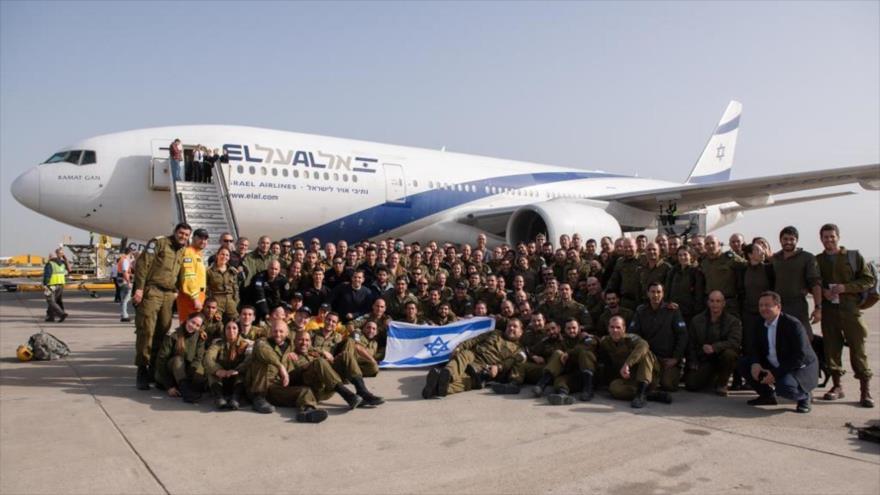 Soldados israelíes tras llegar a Brasil, 26 de enero de 2019.
