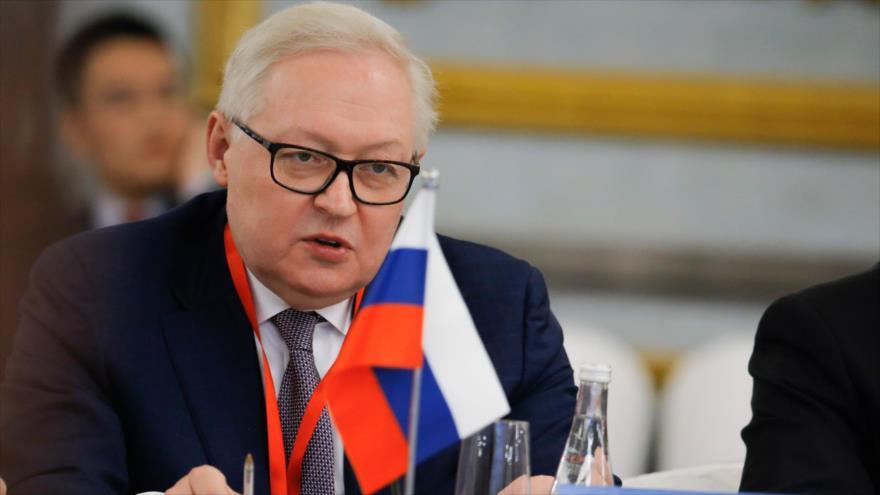 El vicecanciller de Rusia, Serguéi Riabkov, habla en una conferencia en Pekín, la capital de China, 30 de enero de 2019. (Foto: AFP)