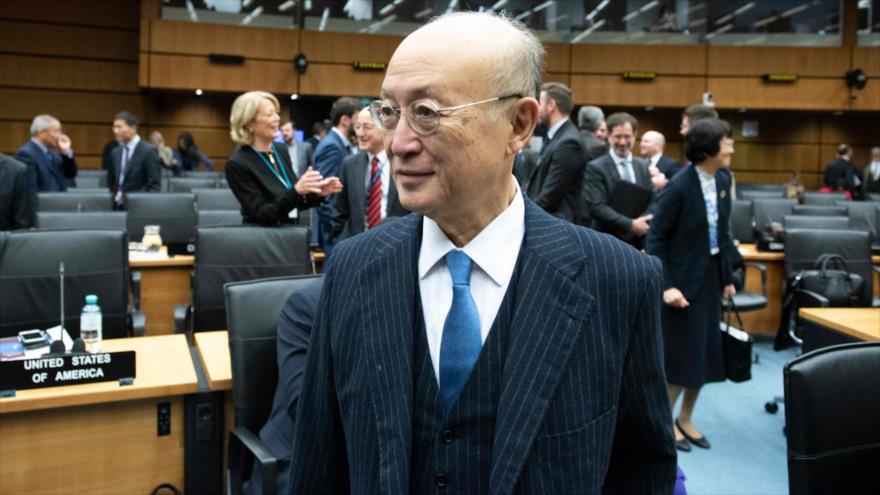 El jefe de la Agencia Internacional de Energía Atómica (AIEA), Yukiya Amano, durante una reunión en Viena, 22 de noviembre de 2018. (Foto: AFP)