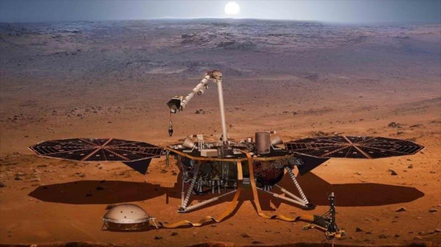 Sonda InSight de la NASA en el superficie de Marte.