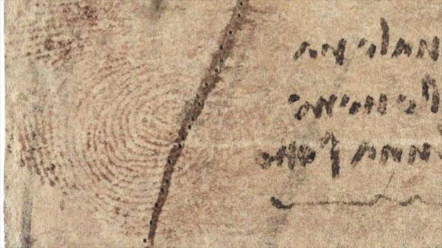 Descubren huella dactilar de Leonardo da Vinci en un dibujo médico del sistema cardiovascular que el artista realizó entre 1509 y 1510.