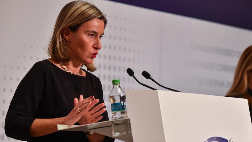 La jefa de la Diplomacia europea, Federica Mogherini, en una reunión de los cancilleres europeos en Bucarest, 31 de enero de 2019. (Foto: AFP)