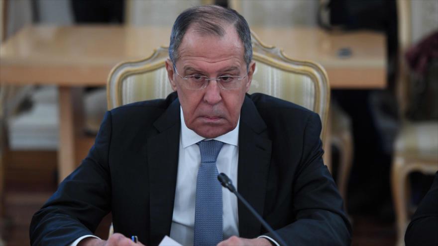 El canciller de Rusia, Serguéi Lavrov, habla en una reunión en Moscú (capital), 30 de enero de 2019. (Foto: AFP)