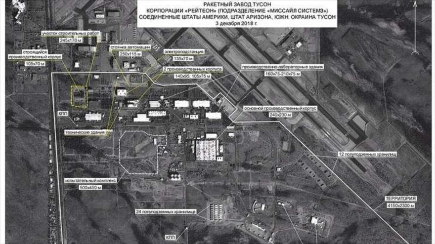 La imagen satelital del una planta de la corporación militar estadounidense Raytheon.