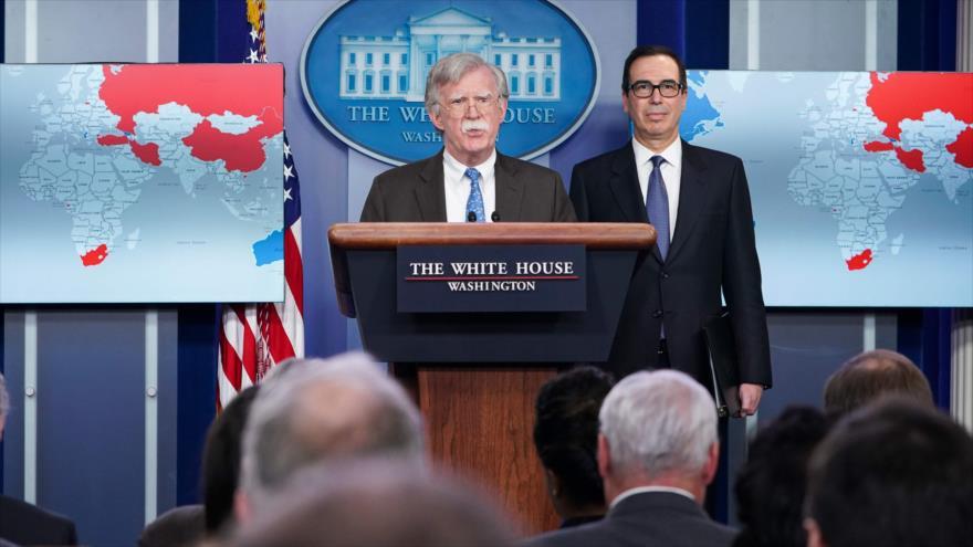 El asesor presidencial de Seguridad Nacional, John Bolton, en una rueda de prensa en la Casa Blanca, en Washington, 28 de enero de 2019. (Foto: AFP)