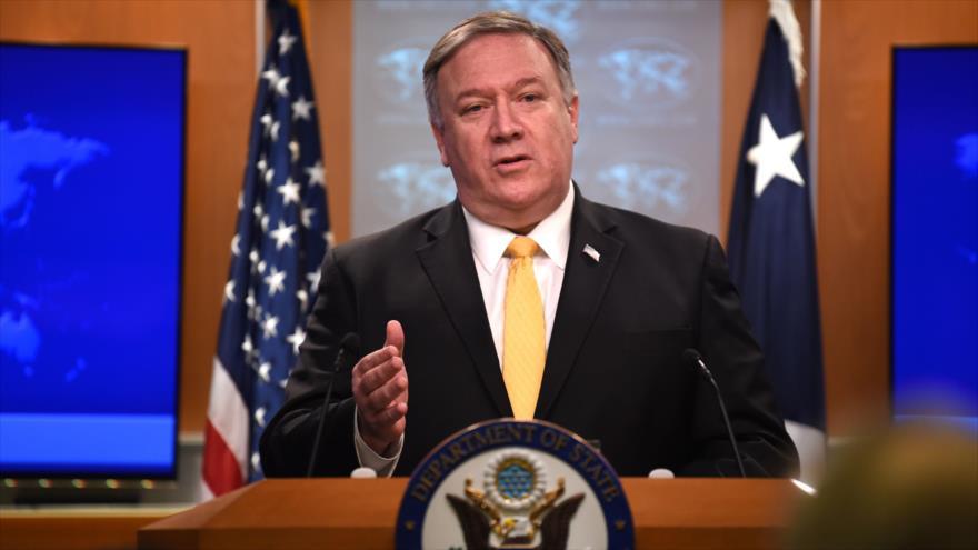 El secretario de Estado de EE.UU., Mike Pompeo, anunciando la suspensión de la participación en el tratado INF, 1 de febrero de 2019. (Foto: AFP)