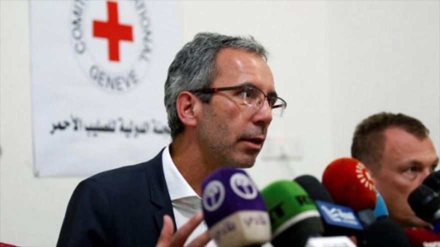 El director de operaciones globales del Comité Internacional de la Cruz Roja, Dominik Stillhart, en una conferencia en Yemen, 14 de mayo de 2017. (Foto: AFP)