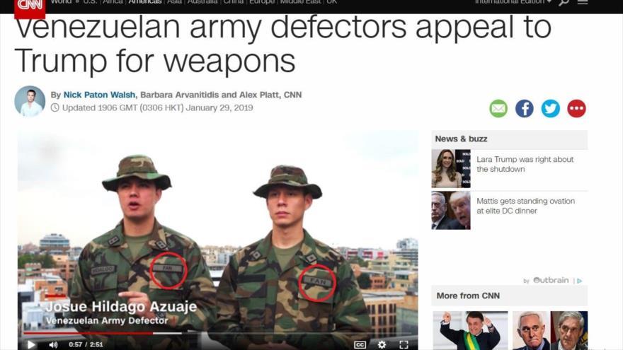 Dos supuestos desertores venezolanos en una entrevista concedida a la cadena estadounidense CNN, realizada el 29 de enero de 2019.