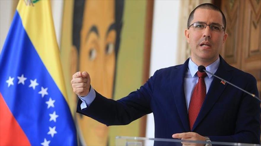 El canciller venezolano, Jorge Arreaza, ofrece un discurso en Caracas (capital), 4 de enero de 2019.