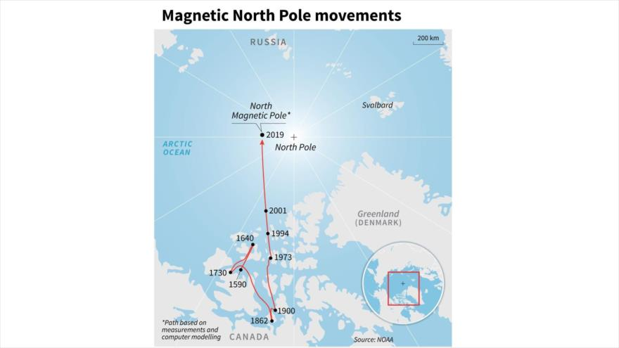 Movimiento del polo magnético, según NOAA.