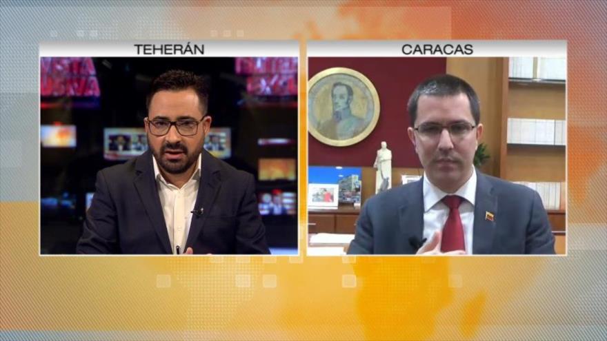 Canciller de Venezuela, Jorge Arreaza, en entrevista exclusiva con HispanTV, 6 de febrero de 2019.