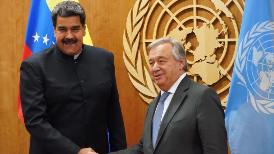 El secretario general de la ONU, Antonio Guterres, en una reunión con el presidente de Venezuela, Nicolás Maduro, 27 de septiembre de 2018. (Foto: AFP)
