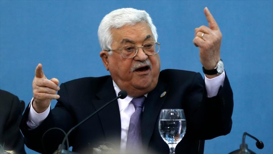 El presidente de Palestina, Mahmud Abás, habla durante una conferencia en Ramalá, 6 de febrero de 2019. (Foto: AFP)