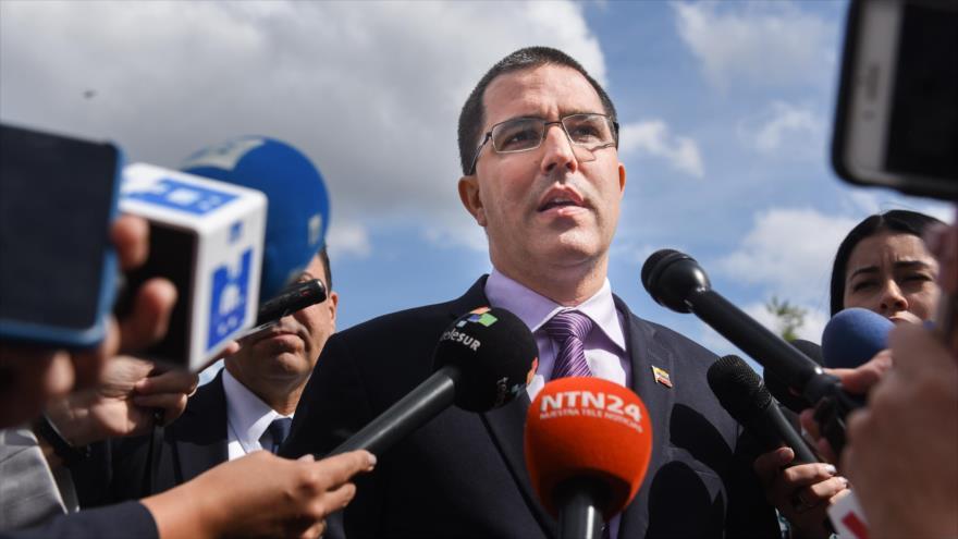 El canciller de Venezuela, Jorge Arreaza, habla con la prensa en Nueva York, EE.UU., 28 de septiembre de 2018. (Foto: AFP)