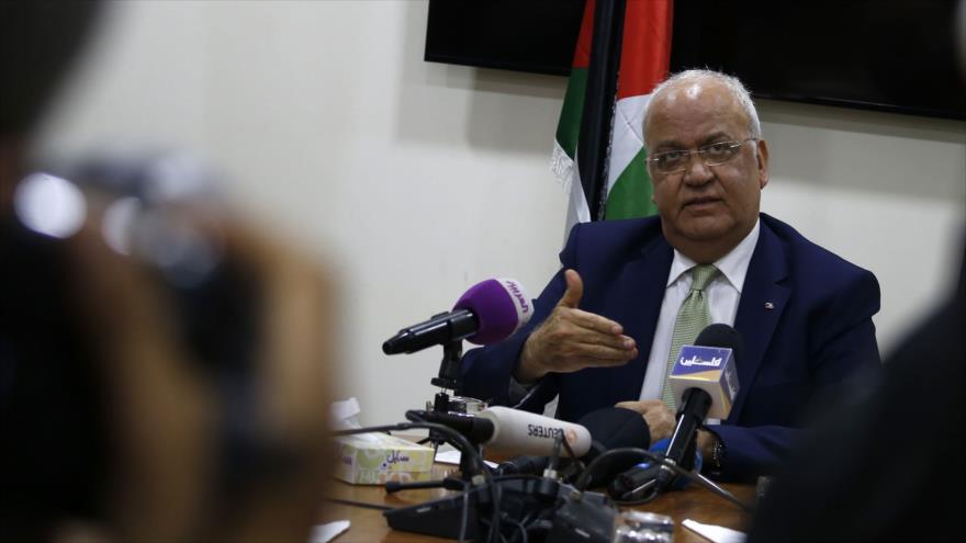 El secretario general de la Organización para la Liberación de Palestina (OLP), Saeb Erekat, en Ramalá, 31 de enero de 2019. (Foto: AFP)