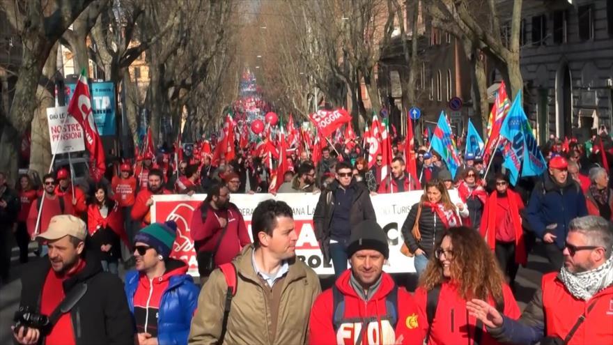 Protesta general contra políticas del Gobierno en Italia