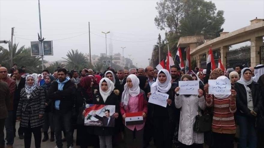 Protestan contra la presencia de EE.UU. en suelo sirio.