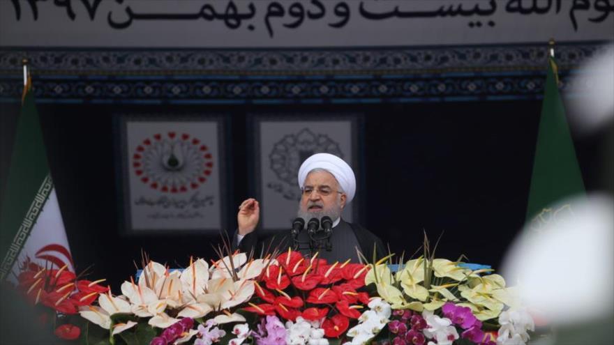 El presidente de Irán, Hasan Rohani, da un discurso en Teherán, en el 40.º aniversario de la Revolución Islámica, 11 de febrero de 2019. (Foto: Mehr News)